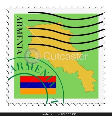 stamp with map and flag of Armenia stock vector clipart, Image of stamp with map and flag of Armenia by Oleksandr Kovalenko