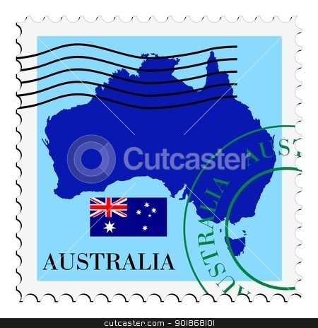 stamp with map and flag of Australia stock vector clipart, Image of stamp with map and flag of Australia by Oleksandr Kovalenko