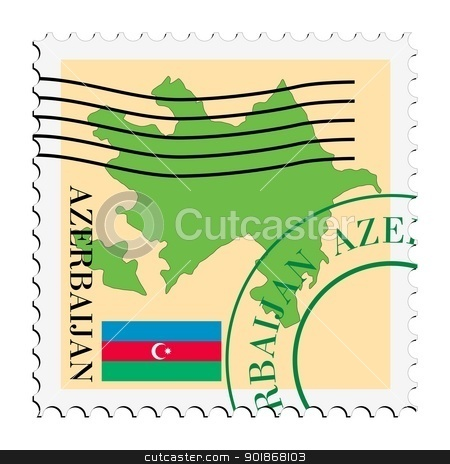 stamp with map and flag of Azerbaijan stock vector clipart, Image of stamp with map and flag of Azerbaijan by Oleksandr Kovalenko
