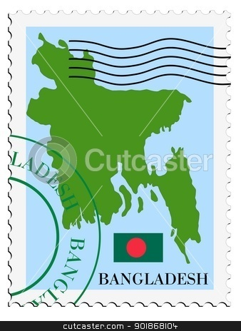 stamp with map and flag of Bangladesh stock vector clipart, Image of stamp with map and flag of Bangladesh by Oleksandr Kovalenko
