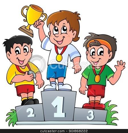 Cartoon winners podium stock vector clipart, Cartoon winners podium - vector illustration. by Klara Viskova