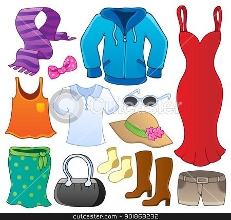 Clothes theme collection 1 stock vector clipart, Clothes theme collection 1 - vector illustration. by Klara Viskova