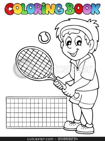 Coloring book cartoon tennis player stock vector clipart, Coloring book cartoon tennis player - vector illustration. by Klara Viskova
