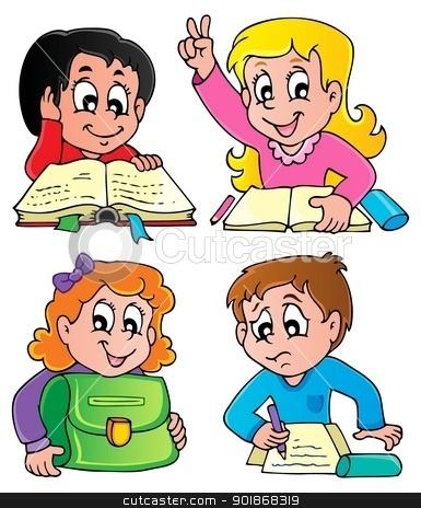 School pupils theme image 2 stock vector clipart, School pupils theme image 2 - vector illustration. by Klara Viskova