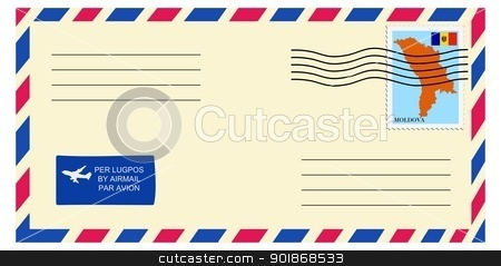 letter to/from Moldova stock vector clipart, letter to/from Moldova by Oleksandr Kovalenko