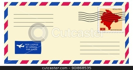 letter to/from Montenegro stock vector clipart, letter to/from Montenegro by Oleksandr Kovalenko