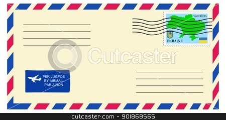 letter to/from Ukraine stock vector clipart, letter to/from Ukraine by Oleksandr Kovalenko