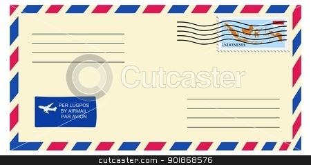 letter to/from Indonesia stock vector clipart, letter to/from Indonesia by Oleksandr Kovalenko