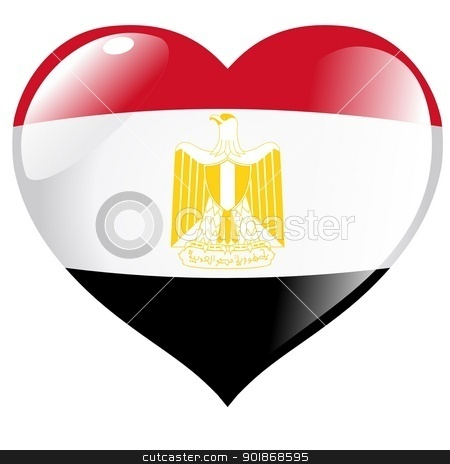 Image of heart with flag of Egypt stock vector clipart, Image of heart with flag of Egypt by Oleksandr Kovalenko