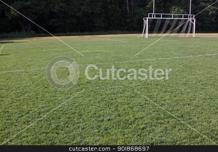 Football Pitch stock photo, A view of the goal on a vacant soccer pitch.  by Chris Hill