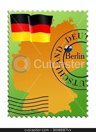 Berlin is a capital city of Germany stock vector clipart, Vector stamp with an image of map of Germany by Oleksandr Kovalenko