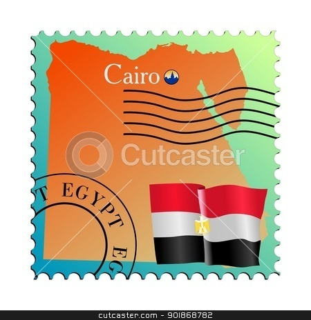 Cairo is a capital city of Egypt stock vector clipart, Vector stamp with an image of map of Egypt by Oleksandr Kovalenko