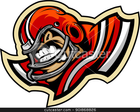 Football Player Mascot Wearing Helmet Vector Illustration stock vector clipart, Graphic Vector lmage of a Mean Tought Football Mascot with Football Helmet by chromaco