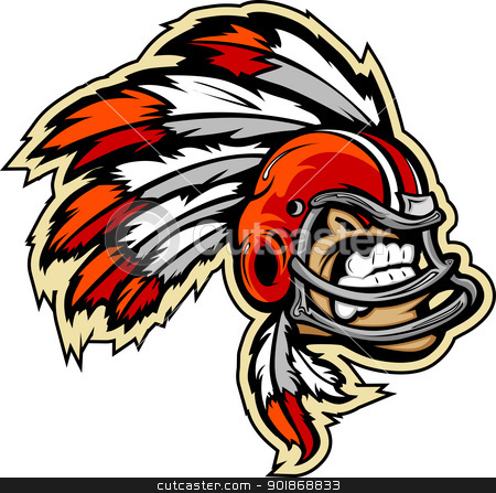 Indian Chief Football Mascot Wearing Helmet with Feathers Vector stock vector clipart, Graphic Vector lmage of an Indian Chief Football Mascot with Feathers on Football Helmet by chromaco