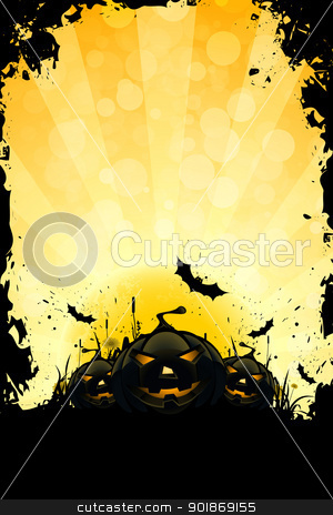 Grungy Halloween Background stock vector clipart, Grungy Halloween Background with Pumpkins, Bats and Full Moon by Vadym Nechyporenko