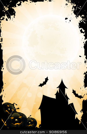 Grungy Halloween Background with Pumpkin and Haunted House stock vector clipart, Grungy Halloween Background with Pumpkin Rays and Haunted House by Vadym Nechyporenko