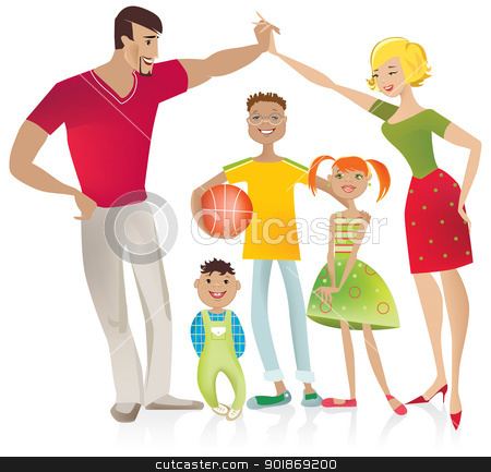 Family stock vector clipart, Vector illustration of a family, parents formed shape of house with their hands by Vanda Grigorovic