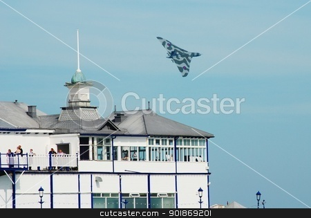 Avro Vulcan B.Mk2 bomber aircraft stock photo, Avro Vulcan B.Mk2, XH558, performs over the Victorian pier at the Airbourne airshow at Eastbourne in East Sussex, England on August 11, 2012. Built in 1960 it is the last airworthy Vulcan. by newsfocus1