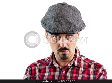 Closeup portrait of a young man man wearing a cap stock photo, Young man wearing a cap, isolated on white background by tristanbm