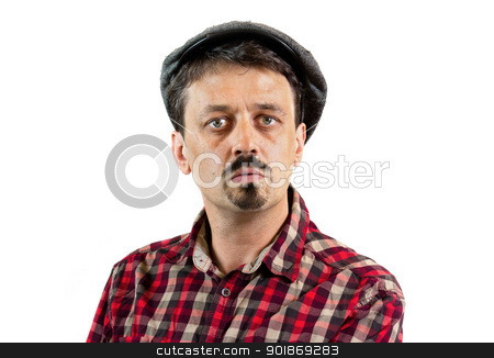 Young man wearing a cap, isolated on white background stock photo, Closeup portrait of a young man man wearing a cap by tristanbm