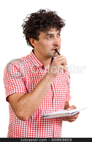 Man thinking with a pencil and notebook stock photo, Young man looking thoughtful, holding a pencil and notebook, isolated on white background by tristanbm