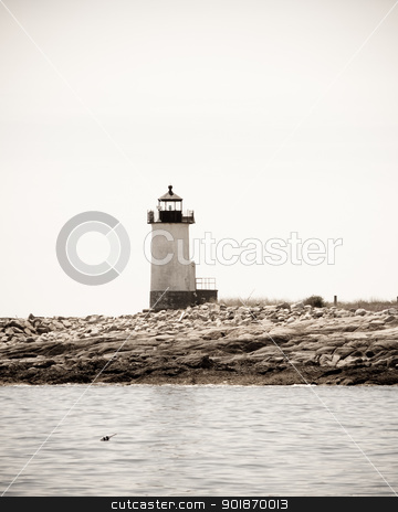 Lighthouse stock photo, Straitsmouth Island Lighthouse was built in 1835 to mark the entrance to nearby Rockport Harbor. by Cora Reed