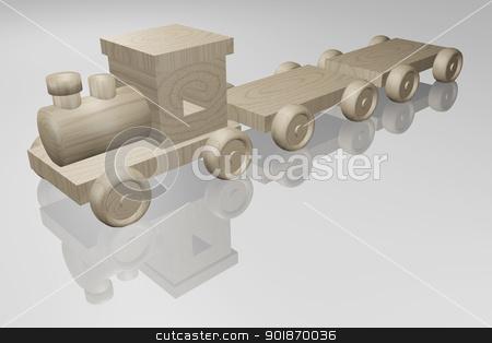 Wood train stock photo, Wooden Toy Train by genialbaron