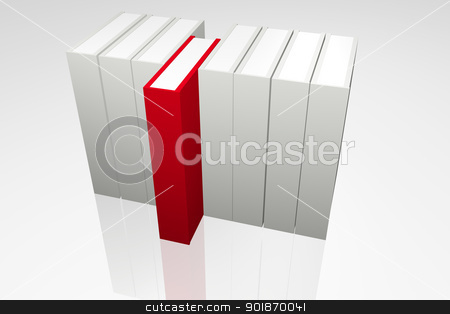 File Selection stock photo, White books and Red book by genialbaron