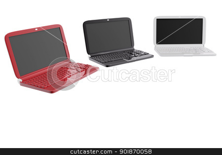 Laptops in various colors stock photo, Laptops in various colors by genialbaron