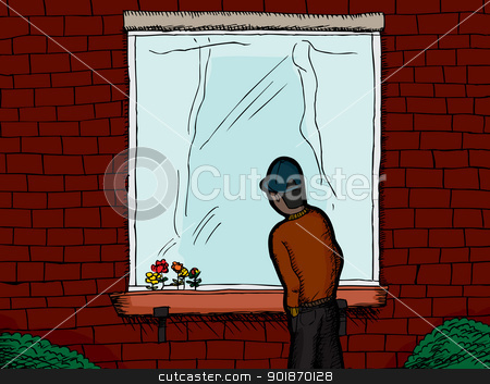 On the Outside Looking In stock vector clipart, Dark skinned man standing outside a window looking in by Eric Basir