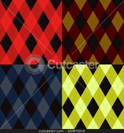 Argyle seamless pattern stock vector clipart, Argyle seamless pattern, four color options. Vector illustration. by lkeskinen