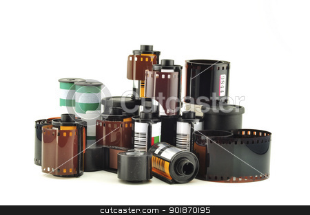 old photo film stock photo, many old photo film rolls over white background by Tudor Antonel adrian