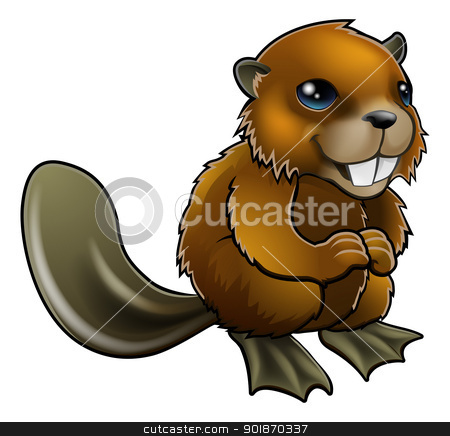 Happy Cartoon Beaver stock vector clipart, An illustration of a happy cartoon beaver character by Christos Georghiou