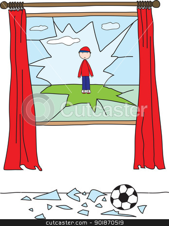 Window Accident stock vector clipart, Boy playing with a ball and breaking a window by nahhan