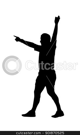 Sport Silhouette - Rugby Football Referee Indicating Foal Play stock vector clipart, Sport Silhouette - Rugby Football Referee Holding Hand Up Indicating Foal Play by Snap2Art
