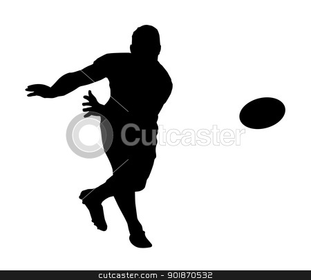 Sport Silhouette - Rugby Football Fast Backline Pass stock vector clipart, Sport Silhouette - Rugby Football Scrumhalf Fast Backline Pass by Snap2Art