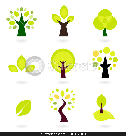 Abstract trees vector set isolated on white stock vector clipart, Trees collection. Vector Illustration. by BEEANDGLOW