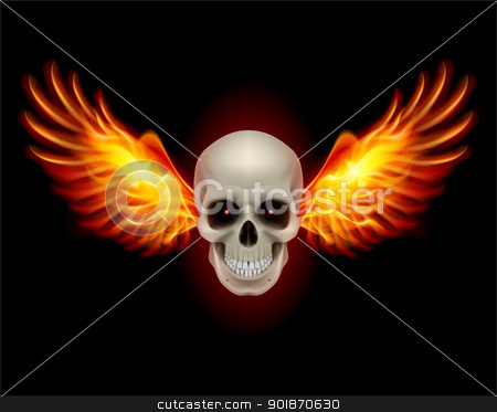 Skull with Fire Wings stock photo, Danger Skull with Fire Wings. Illustration on black by dvarg