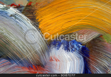 strokes stock photo, Extreme closeup of brush strokes - run colors - craftsmanship by Siloto