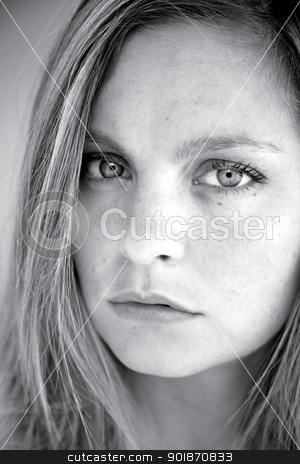 Beautiful serious blonde girl black and white stock photo, Woman blonde with freckles serious and sad by federico marsicano