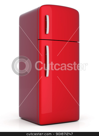 Fridge stock photo, A classic Fridge. 3D rendered Illustration. Isolated on white. by Michael Osterrieder