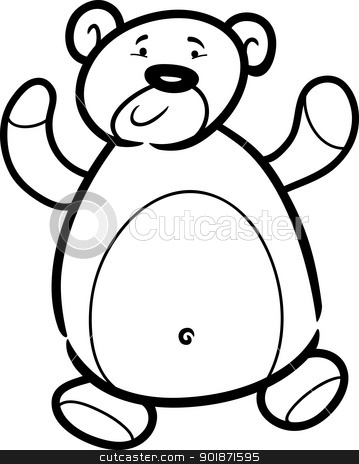 teddy bear cartoon for coloring book stock vector clipart, Cartoon Illustration of Cute Teddy Bear Toy for Coloring Book by Igor Zakowski