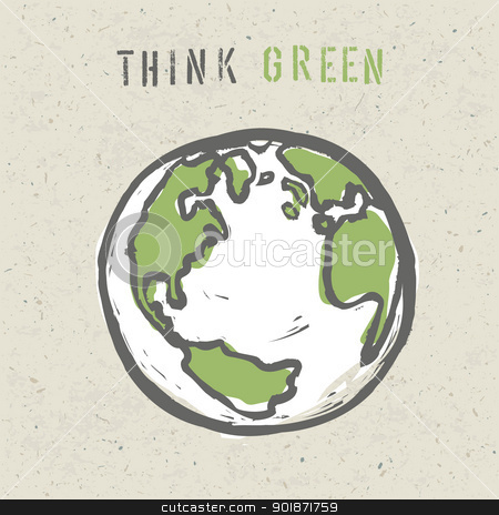 Think green poster design template. Vector, EPS10 stock vector clipart, Think green poster design template. Vector, EPS10 by pashabo