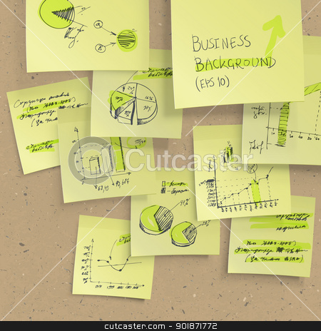 Yellow sticky notes with business infographics on cork board, cl stock vector clipart, Yellow sticky notes with business infographics on cork board, closeup. All elements editable (available under clipping mask). Vector, EPS10 by pashabo