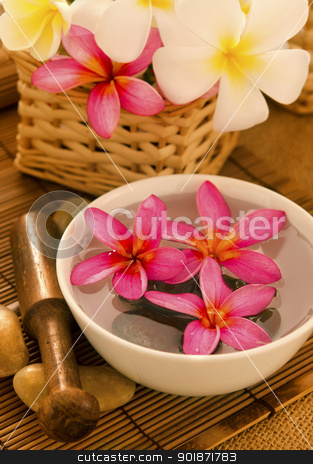 Tropical spa retreat stock photo, Tropical spa with Frangipani flowers on water. Low lighting, suitable for spa related theme. by szefei