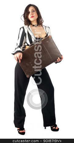 Pretty woman with suitcase stock photo, Pin-up photo of beautiful woman with suitcase by Aikon