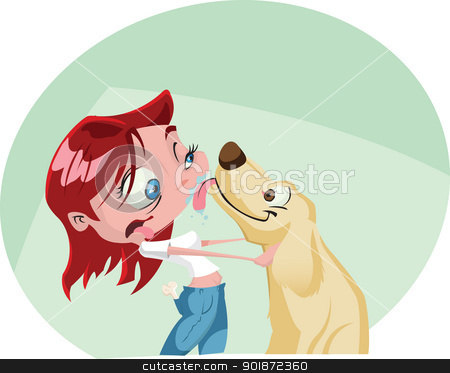 Walking the dog stock vector clipart, A funky cartoon woman gets a big wet kiss from her dog. Illustrator .eps v10. Contains some transparency effects on highlights. by mojojojo