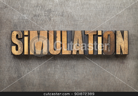 simulation word in wood type stock photo, simulation - science or engineering research concept - text in vintage letterpress wood type against a grunge metal sheet by Marek Uliasz