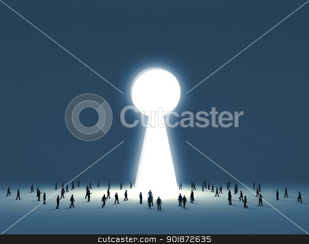 People walking into a gate shaped like a keyhole stock photo, Group of tiny people walking into a gate shaped like a keyhole  by Sergey Nivens