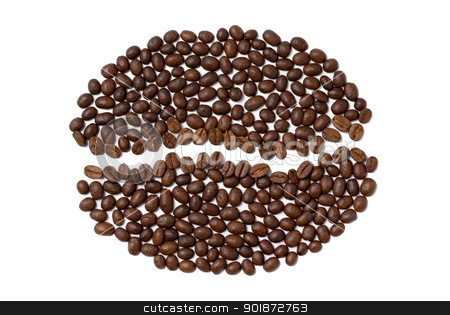 Coffee seed sign stock photo, Coffee seed sign made of coffee seeds. by Piotr Skubisz